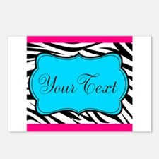 Personalizable Teal Hot Pink Zebra Postcards (Pack