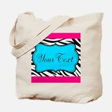 Personalizable Teal Hot Pink Zebra Tote Bag