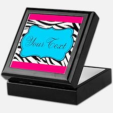 Personalizable Teal Hot Pink Zebra Keepsake Box