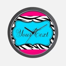 Personalizable Teal Hot Pink Zebra Wall Clock