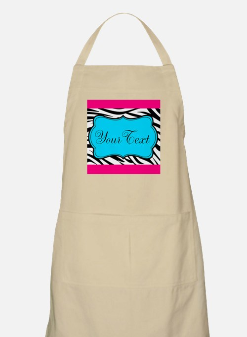 Personalizable Teal Hot Pink Zebra Apron