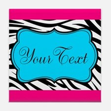 Personalizable Teal Hot Pink Zebra Tile Coaster
