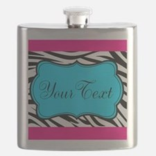 Personalizable Teal Hot Pink Zebra Flask