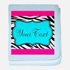 Personalizable Teal Hot Pink Zebra baby blanket