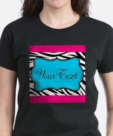 Personalizable Teal Hot Pink Zebra T-Shirt