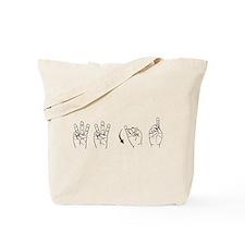 Black ASL WWJD Tote Bag