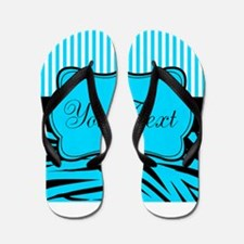 Personalizable Teal Black and White Flip Flops