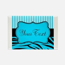 Personalizable Teal Black and White Magnets