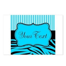 Personalizable Teal Black and White Postcards (Pac