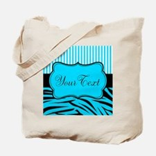 Personalizable Teal Black and White Tote Bag