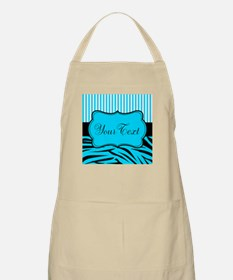 Personalizable Teal Black and White Apron