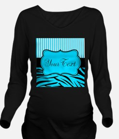 Personalizable Teal Black and White Long Sleeve Ma