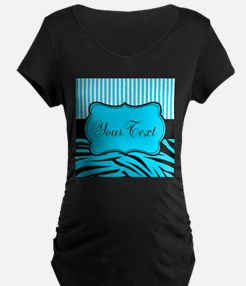 Personalizable Teal Black and White Maternity T-Sh