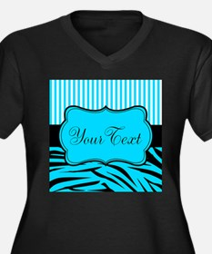 Personalizable Teal Black and White Plus Size T-Sh