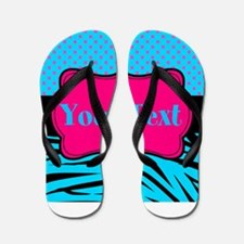 Personalizable Teal Hot pink Flip Flops