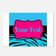 Personalizable Teal Hot pink Postcards (Package of