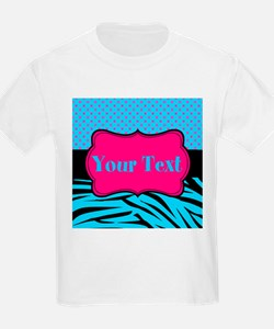 Personalizable Teal Hot pink T-Shirt