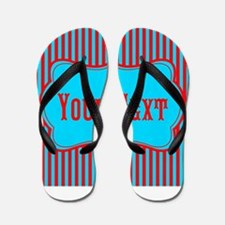 Personalizable Teal and Red Stripes Flip Flops