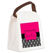 Personalizable Pink and Black Damask Canvas Lunch