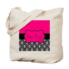 Personalizable Pink and Black Damask Tote Bag
