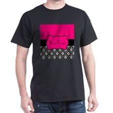 Personalizable Pink and Black Damask T-Shirt