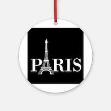 Paris Eiffel Tower Black White Round Ornament