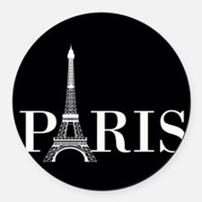 Paris Eiffel Tower Black White Round Car Magnet