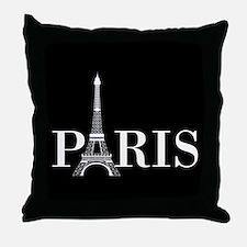 Paris Eiffel Tower Black White Throw Pillow