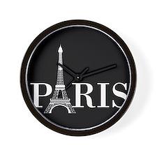 Paris Eiffel Tower Black White Wall Clock