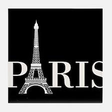 Paris Eiffel Tower Black White Tile Coaster