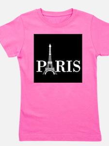 Paris Eiffel Tower Black White Girl's Tee
