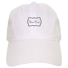 Personalizable Black and White Script Baseball Baseball Cap