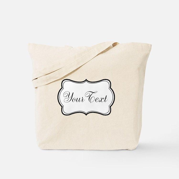 Personalizable Black and White Script Tote Bag