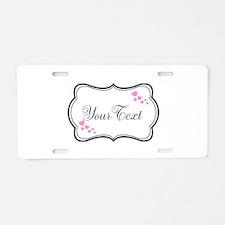 Personalizable Pink Hearts in Black Aluminum Licen