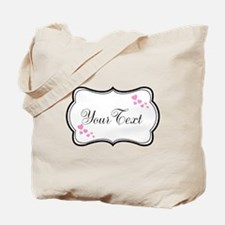 Personalizable Pink Hearts in Black Tote Bag