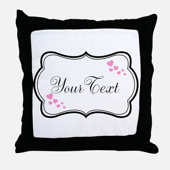 Personalizable Pink Hearts in Black Throw Pillow