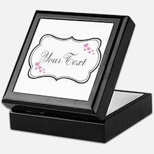 Personalizable Pink Hearts in Black Keepsake Box