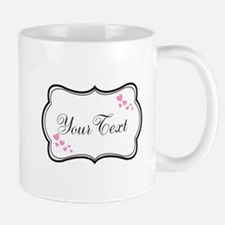 Personalizable Pink Hearts in Black Mugs