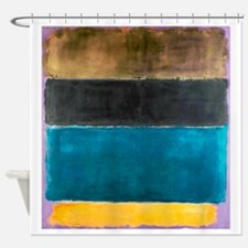 ROTHKO TEAL BLACK BROWN YELLOW 2 Shower Curtain