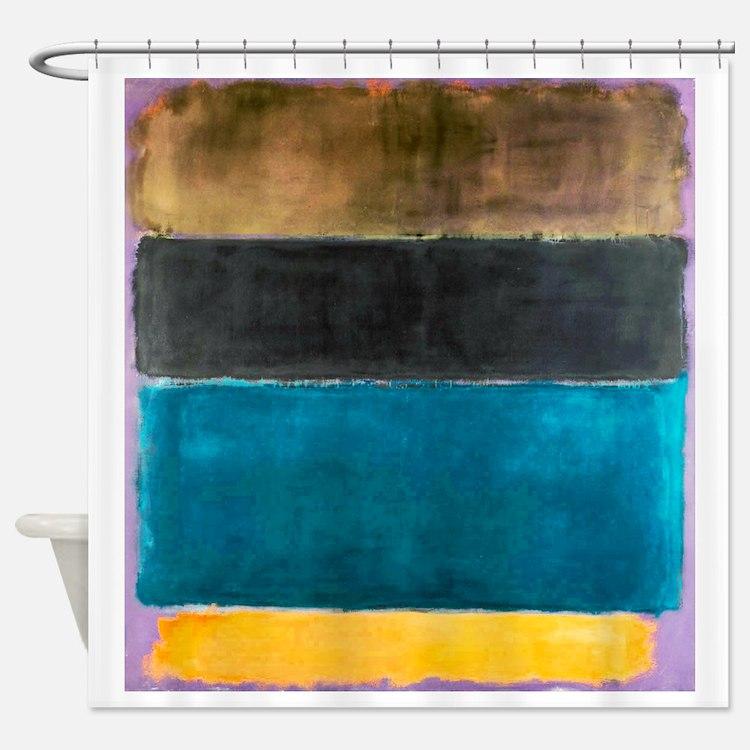 ROTHKO TEAL BLACK BROWN YELLOW 2 Shower Curtain