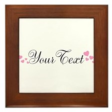 Personalizable Pink Hearts Framed Tile