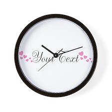 Personalizable Pink Hearts Wall Clock