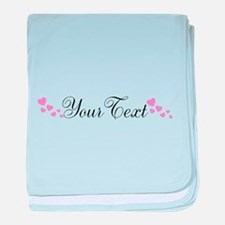 Personalizable Pink Hearts baby blanket