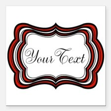 Personalizable Red Black White Square Car Magnet 3