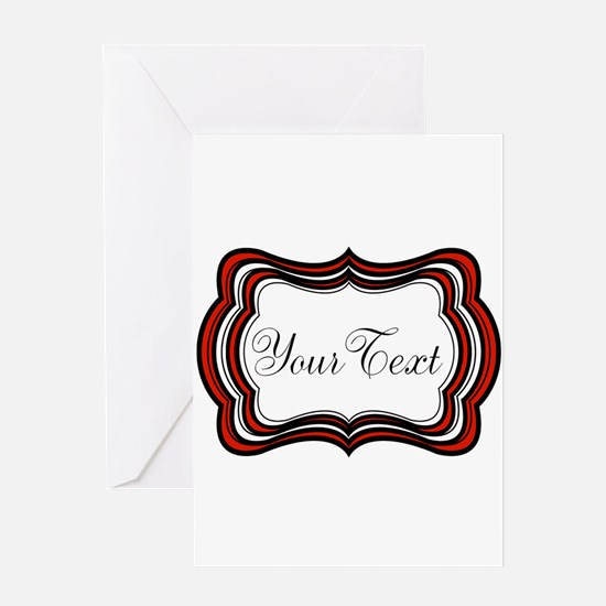 Personalizable Red Black White Greeting Cards