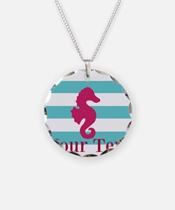 Personalizable Teal Eggplant Sea Horse Necklace