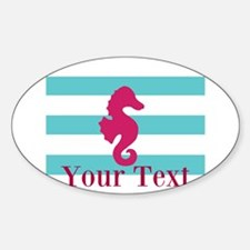 Personalizable Teal Eggplant Sea Horse Decal
