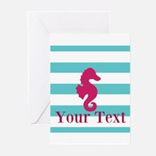 Personalizable Teal Eggplant Sea Horse Greeting Ca