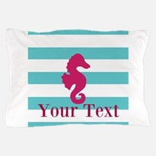 Personalizable Teal Eggplant Sea Horse Pillow Case