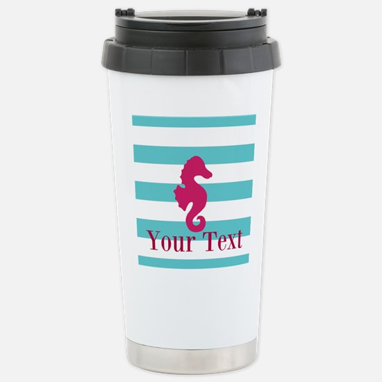 Personalizable Teal Eggplant Sea Horse Travel Mug